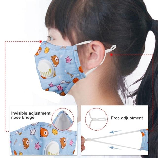 Children Anti Dust Mask Reusable with Breath Valve Anti Haze Cotton Mask Antibacterial Pm2.5 Filter Respirator Mouth Mask Kids 5