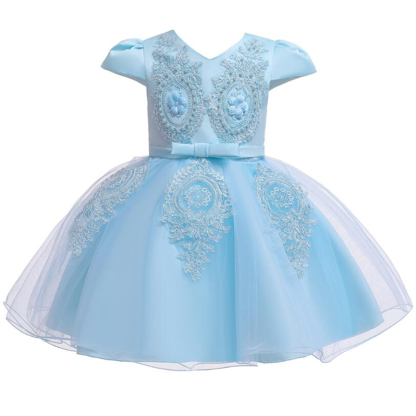 Girl applique mesh tutu evening dress European American children's short-sleeve lace dress baby 1 year baptism princess dress