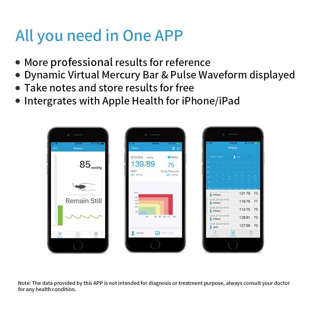 Ultra portátil sem fio bluetooth monitor de pressão arterial braço superior grande manguito multi usuários com app fda aprovado viatom airbp - 4