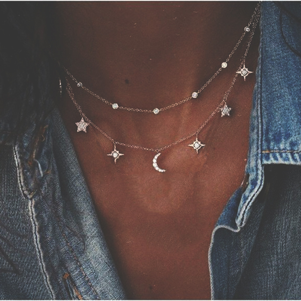 New Boho Multi-layer Crystal Sequin Star Lock Necklace For Women 2020 Vintage Geometry Pendants Necklaces Chokers Jewelry Gift