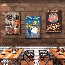Simpson Metal Poster Tin Sign Vintage Bacardi Metal Plaque Signs Retro Room Decorative Plates Pub Bar Man Cave Home Decoration