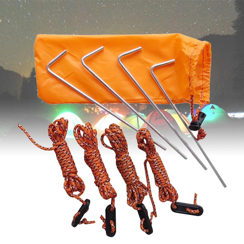 Camping Tent Stakes Camping Tent Pile Windproof Rope Tent Accessory Kit Steel Nail for Fixing Pole of Outdoor Awning for Camping