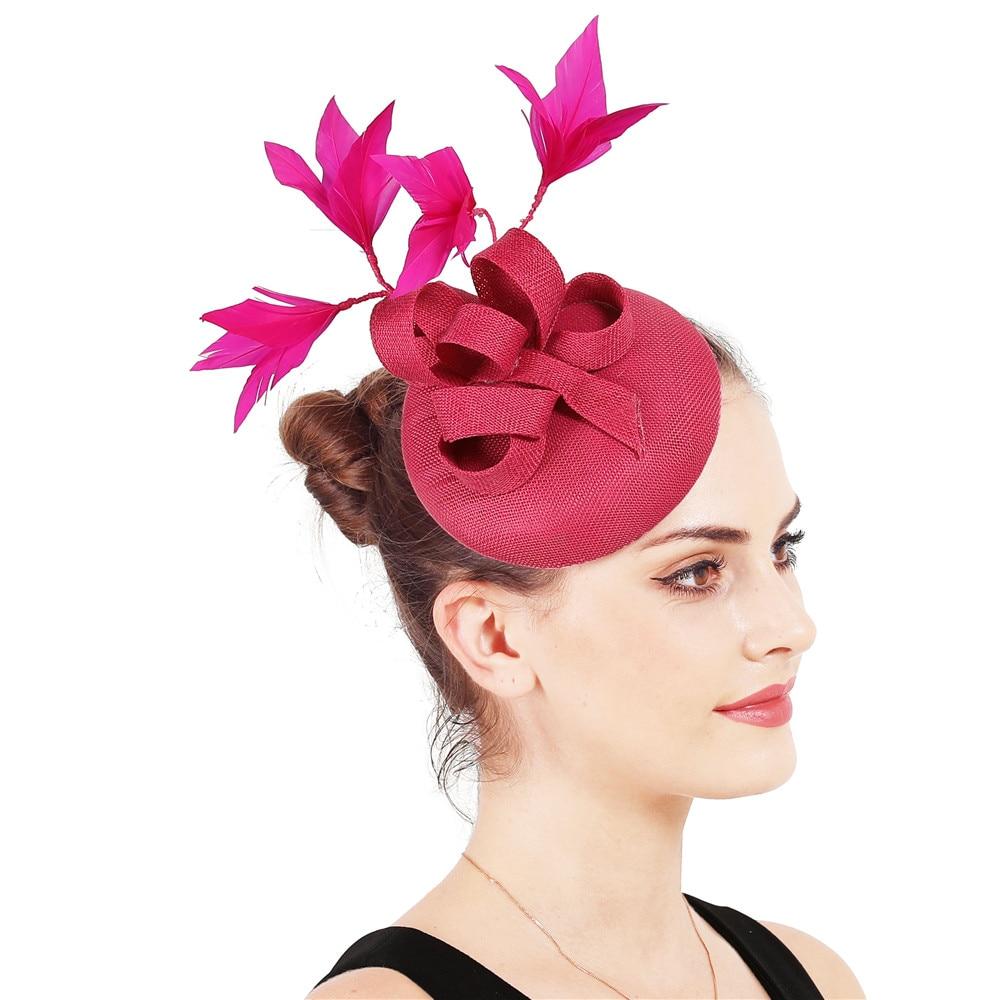 Новые женские шляпки с сеткой цвета хаки, модные женские шляпы с лентами для свадебной вечеринки, красивые аксессуары SYF570 - Цвет: hot pink
