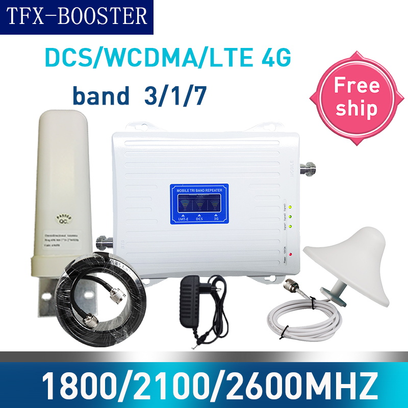 TFX-BOOSTER Russia Cellular Amplifier 1800/2100/2600 Tri-Band GSM Repeate 3G 4G CellPhone Booster 70dB GSM UMTS LTE DCS Mobile