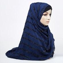 無地きらめきマキシ綿スカーフヒジャーブ格子縞の固体フリンジショールグリッターイスラム教徒ロングイスラム教徒のヘッドラップターバンスカーフ/スカーフ