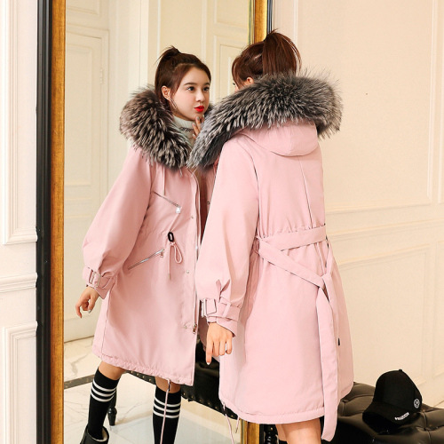 Photo Shoot 2019 New Style Down Jacket Cotton-padded Clothes Women's Korean-style Mid-length Loose-Fit Waist Hugging Parka Trenc