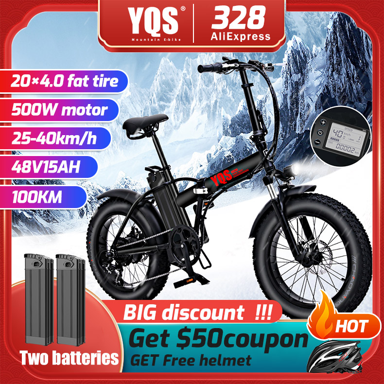 YQS New 500W 40KM/h Snow Mountain Electric Bike 20inch 4.0 Fat Tire Ebike Bicicleta Eletrica Beach Electric Bicycle