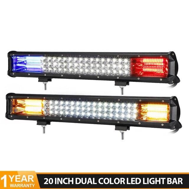 20 zoll 288W 3 Reihe LED Licht Bar Offroad Led Bar Flash Strobe Fahren Warnung Licht für Auto lkw SUV ATV 4x4 4WD 12v 24V