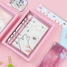 TOPSTHINK Student stationery set notebook loose-leaf creative schedule notepad mini cartoon clear cover hand book INS