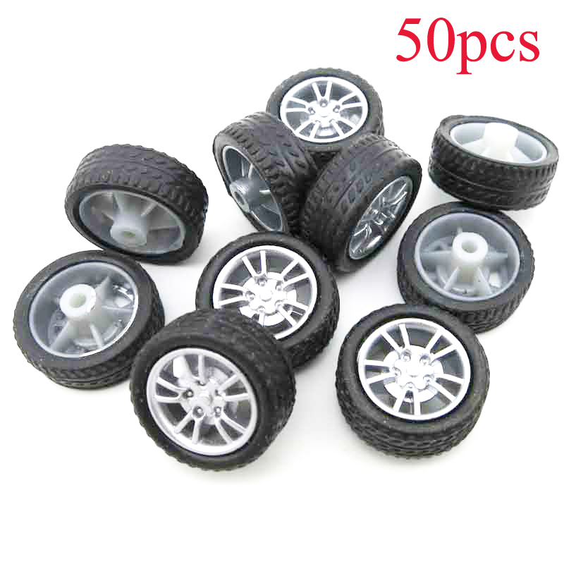 50PCS Diameter 16mm Toy Rubber <font><b>Wheel</b></font> Miniature Plastic Tires Thickness <font><b>6mm</b></font> Micro Tyres Spare Parts for DIY RC Car Model 2mm <font><b>Axle</b></font> image
