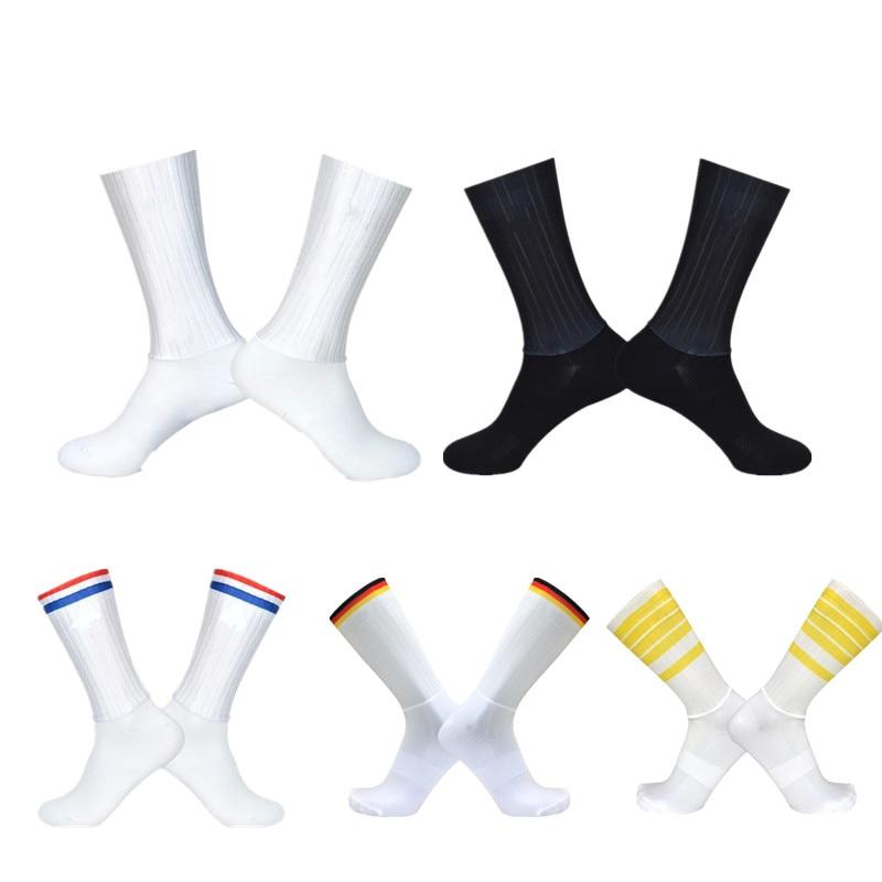 2019 anti deslizamento sem costura meias de ciclismo integral moldagem de alta tecnologia bicicleta meia compressão ao ar livre correndo esporte meias