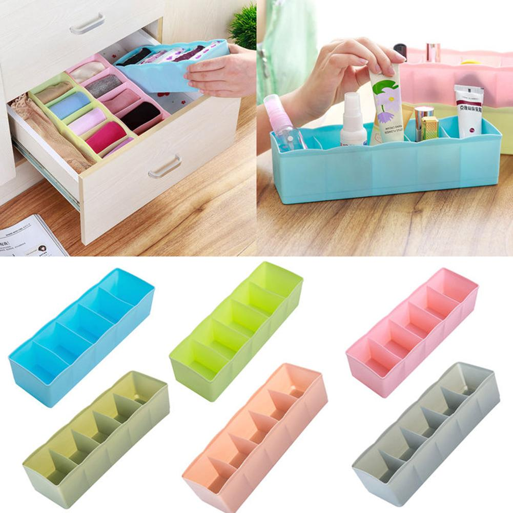 5 Cells Plastic Storage Box Underwear Storage Drawer Organizer Drawer Divider Tie Bra Socks Drawer Organizers Cosmetic Organizer Drawer Organizers     - title=