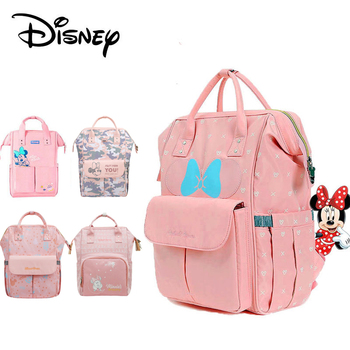 Disney Minnie Pink Series Maternity Diaper Bag USB Heating Baby Care Bag Mummy Large Capacity Nappy Backpack For Moms Waterproof Bags Kids