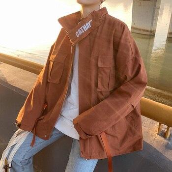 Fashion Men's Loose Cargo Style Safari  Style Jacket Stand Collar Retro Boys Coat Casual M-XL A12