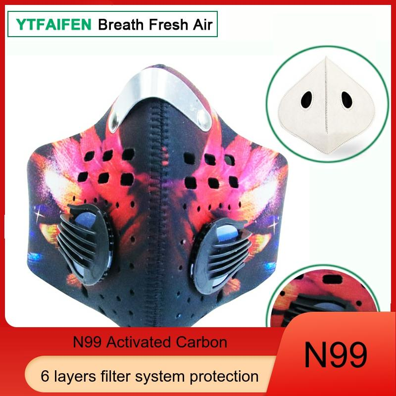Cycling Sports Activated Carbon Face Mask Anti Pollution Dust Smog Virus PM2.5 Bike 2 Valves 2 N99 Filters for Running Bisiklet 1