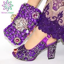 Zapatos y bolso a juego para mujer, zapatillas sin cordones de fiesta nigeriana, zapatos y Bolsa italianos decorados con diamantes de imitación