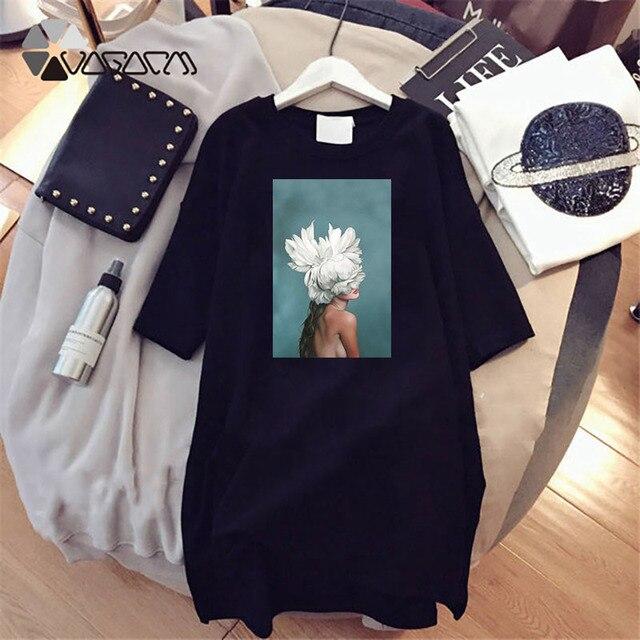 Plus Size Women Summer Dresses Elegant Beauty Print Short Sleeve T-shirts Casual Loose Mini Woman Dress Tee Vestido Mujer Robes 6