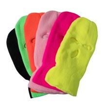 Unisex chapéu máscara de balaclava 3 buraco máscara facial preto malha esqui snowboard chapéu boné de inverno hip hop cor múltipla gorro
