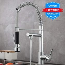 Gavaer Lente Pull Down Keukenkraan Nozzle Dual Mode Water Mixer Enkele Handgreep Hot Cold 2 Outlet Douche Swivel Keuken kranen