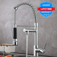 цены Gavaer Spring Pull Down Kitchen Faucet Nozzle Dual Mode Water Mixer Single Handle Hot Cold 2 Outlet Shower Swivel Kitchen Taps