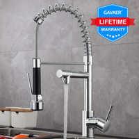 Gavaer printemps tirer vers le bas robinet de cuisine buse double Mode mélangeur d'eau poignée unique chaud froid 2 sortie douche pivotant robinets de cuisine