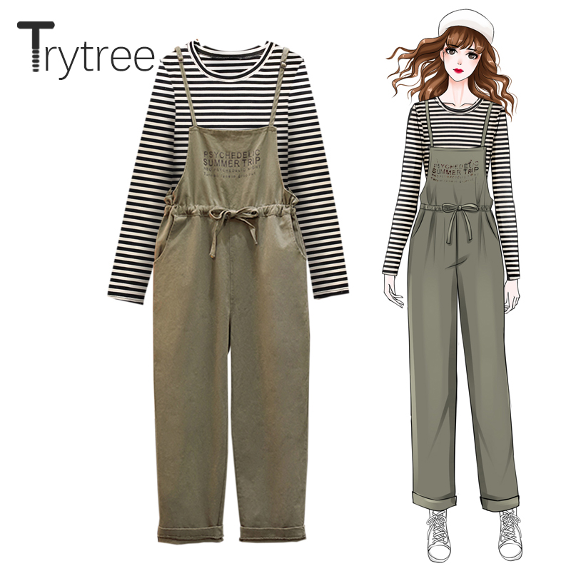 Trytree 2019 Autumn Women Two Piece Set Casual O-neck Striped Tops + Dress Solid Elastic Waist Pockets Office Lady 2 Piece Set