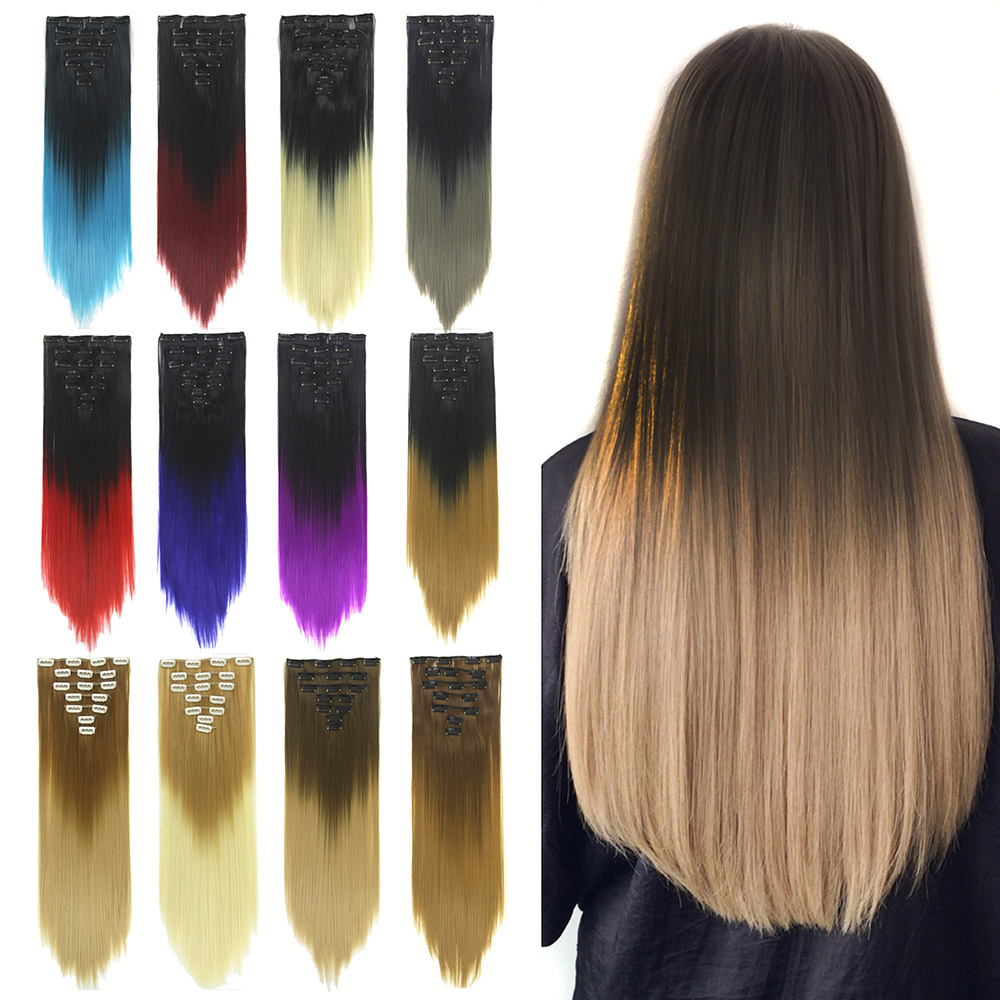 Soowee 7pcs/set Long Straight Gray Blonde Hairpieces Synthetic Hair Extensions Clip-in Full Head Mega Hair Accessories Headwear
