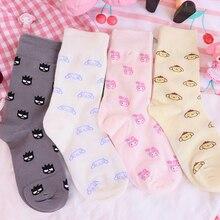 1 Pair My Melody Cinnamoroll Pudding Dog cat Medium Long New cute Cotton Socks for Girls Cartoon Soc