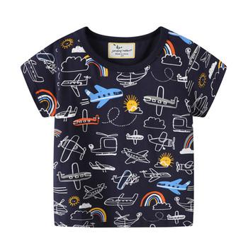 Skoki metrów chłopców kreskówki t-shirty na lato dzieci bawełniane ubrania samoloty dzieci topy koszulki dla chłopców ubranie dla dziewczyn tanie i dobre opinie jumping meters spandex COTTON CN (pochodzenie) Europejskich i amerykańskich style Cartoon REGULAR O-neck Tees Krótki