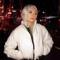 Women Coats and Jackets Winter Wear Crop Puffer Jacket Bubble Coat Parka Ladies Outerwear Black White