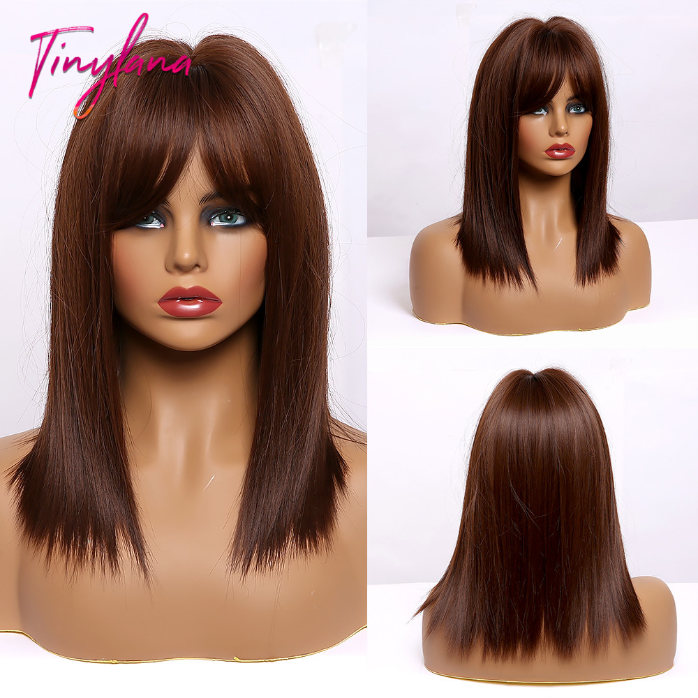 Küçük LANA kısa düz Bobo saç bal kahverengi sarışın amerika afrika kadın peruk Cosplay parti sentetik peruk isıya dayanıklı