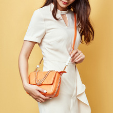 2020 Women Summer Luxury Fashion Designer Leather Shoulder Bag Crossbody Bag Pearl Chain Flap Handbag Office Daily Orange White women s luxury designer elegant pu classic quilted vintage shoulder bag chain flap crossbody bag handbag office daily fashion