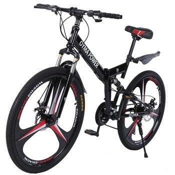 Bicicleta De Montaña plegable De 21 velocidades, bici De carretera con suspensión completa, disponible en EE. UU., 26 pulgadas