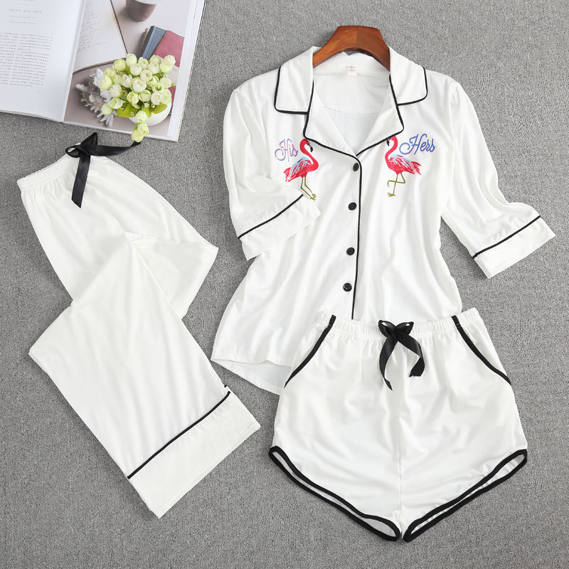 JULY'S SONG Women Cotton Sleepwear Pajamas Set 3 Pieces Flamingo Pattern 3/4 Sleeves Long Pants Women Shorts Spring Casual Pyjam