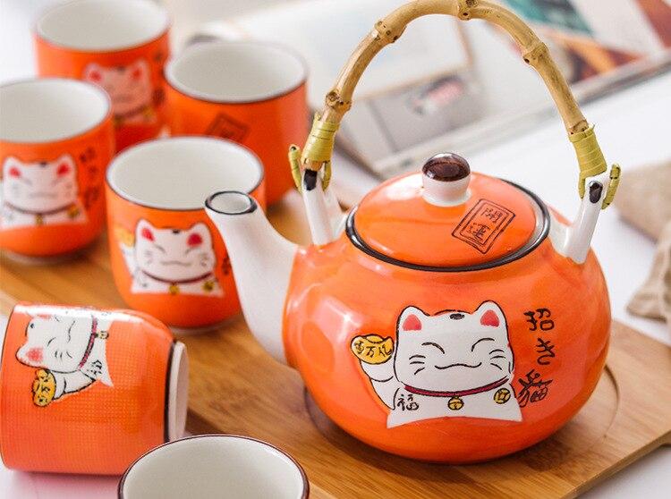 chinês bandeja de madeira elevador feixe pote chá conjunto