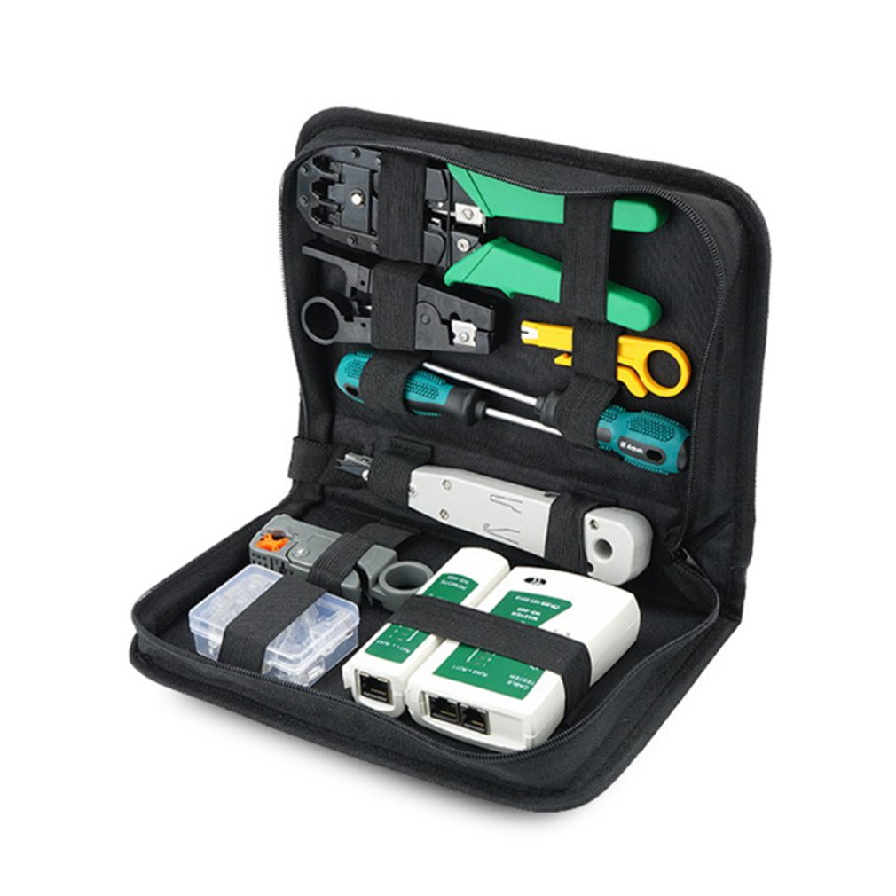 12Pcs Portable LAN Network Repair Tool Kit UTP Cable Clamp Pliers Cable Tester Wire Crimper Stripping Crimping Pliers