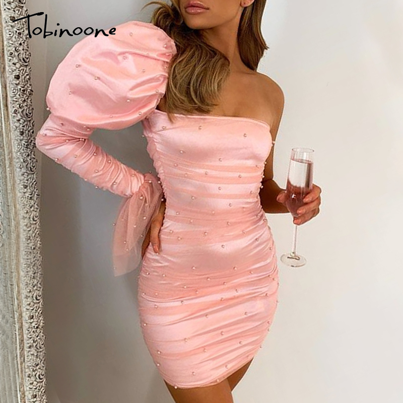 Tobinoone <font><b>Sexy</b></font> mesh <font><b>lace</b></font> women <font><b>dress</b></font> Ruffled one shoulder <font><b>female</b></font> bodycon short <font><b>dress</b></font> <font><b>Party</b></font> club ladies vestidos de fiesta 2019 image