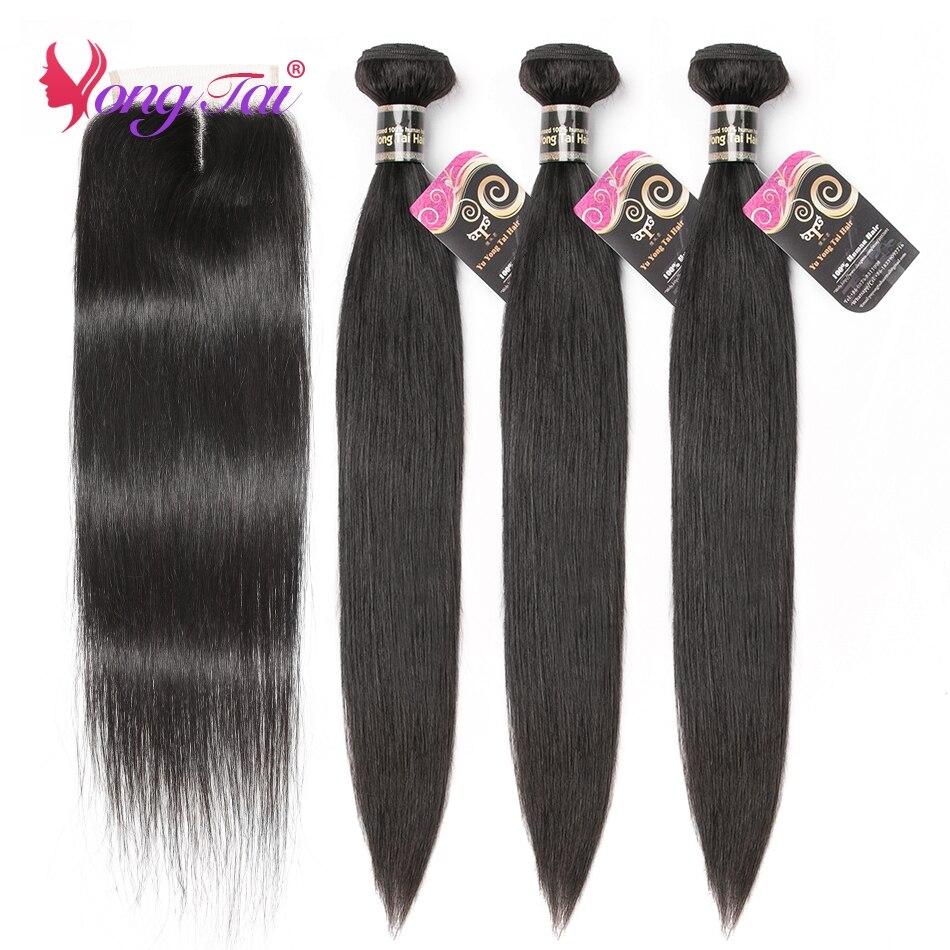 YuYongtai Peruvian Bone Straight 3 Bundles With 4x4 Lace Closure Natural Black Non-Remy 100% Human Hair Bundles With Closure