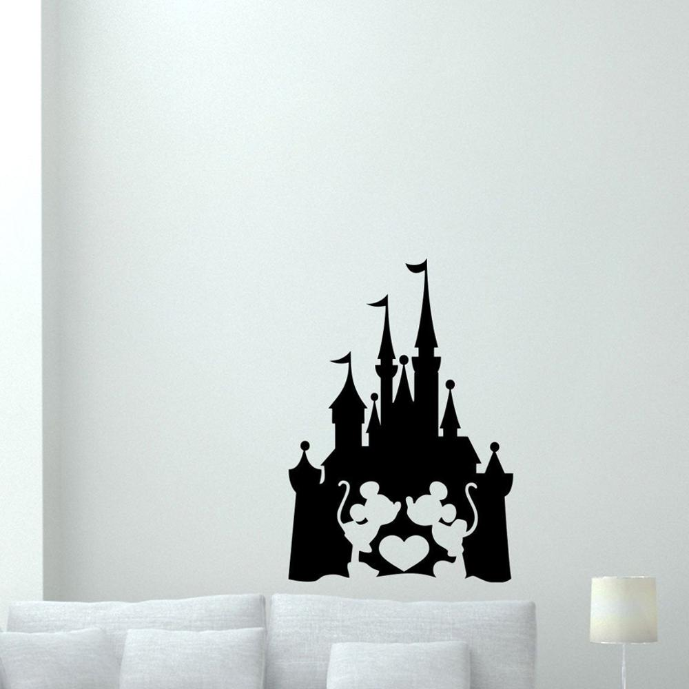 Disney Castle with Mickey Mouse Minnie Heart Love Fairy Quote Kids Gift room accessories Vinyl Sticker girl Decor sticker