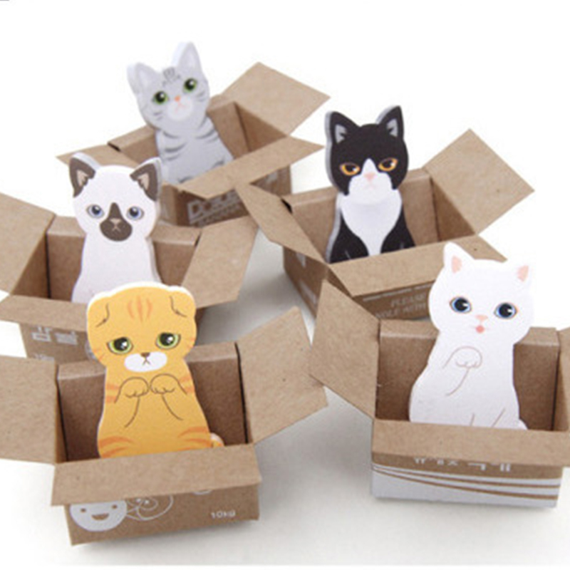 Kawaii Anime Box Sticky Notes Cartoon 3D Cat Dog MemoPad School Stationery Cute Bookmark  Memo Paper For Office Accessories