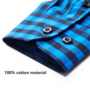 Image 3 - Blue White Plaid Mens Classic Casual Shirt High Quality 100% Cotton Male Social Long Sleeve Slim Fit Shirt 4XL