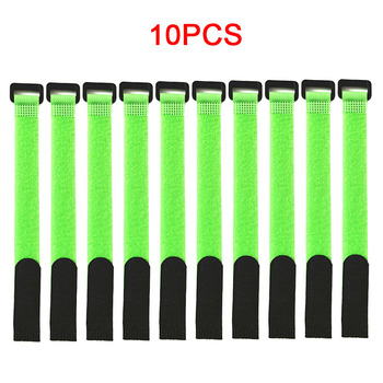 10PCS Fishing Rod Tie Holders Straps Belts Suspenders Fastener Hook Loop Cable Cord Ties Belt Fishing Tackle Fishing Accessories - Light Green - 10PCS, China