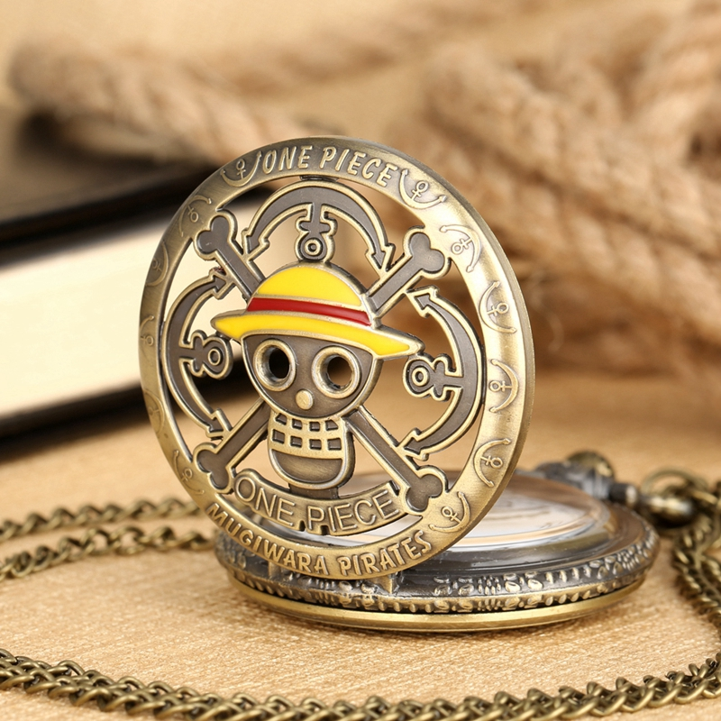 Japanese Anime One Piece Theme Quartz Pocket Watch Yellow Luffy Hats Pendant Pocket Watch Necklace Clock Gifts For Students Fans