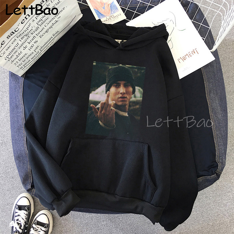 Eminem Cool Black Unisex Hoodies Sweatshirt Hip Hop Rap Punk Style Tops Pullover HipHop Rock Gothic Winter Coat Women Men Hoodie 1