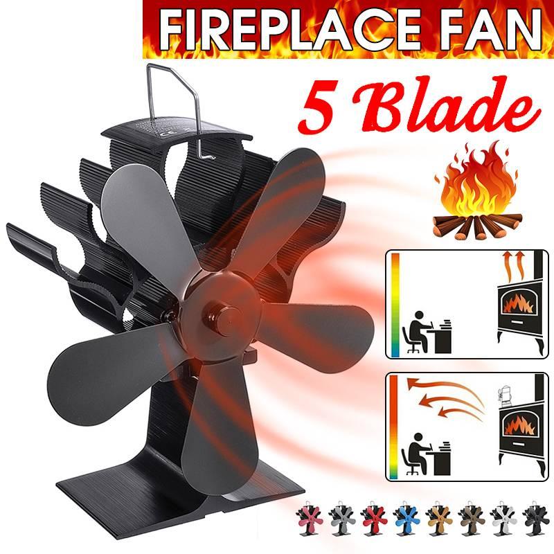 Black Fireplace 5 Blade Heat Powered Stove Fan Komin Log Wood Burner Eco Friendly Quiet Fan Home Efficient Heat Distribution