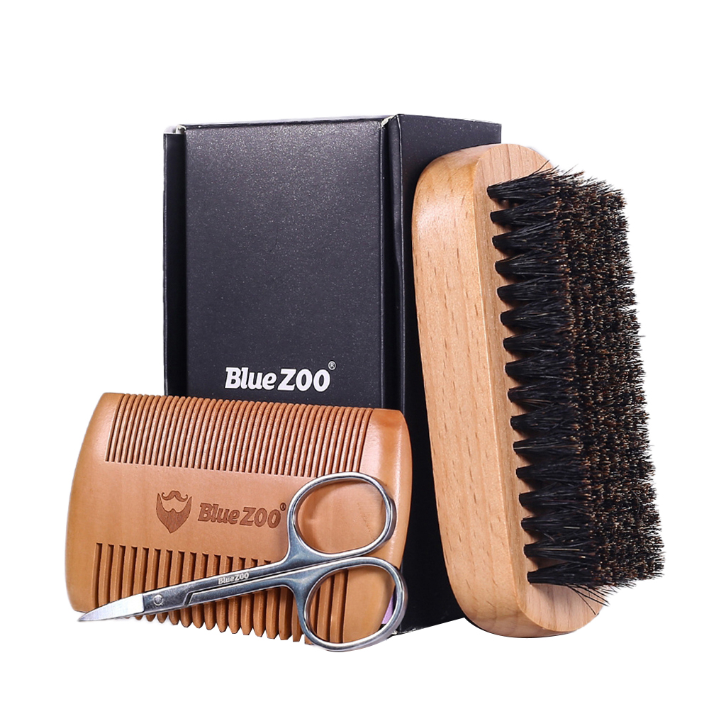 3 in 1 Mens Beard Care Grooming Kit with Beard Brush Comb Scissor Gift Set|Loop Brushes| - AliExpress