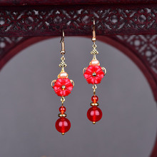 Chinese Ethnic Drop Earrings For Women Natural Stone Handmade Dangle Earrings Flower Design Bead Accessories Wedding party Gift chinese ethnic dangle earrings for women handmade drop earrings vintage jewelry bead accessories wedding party gift