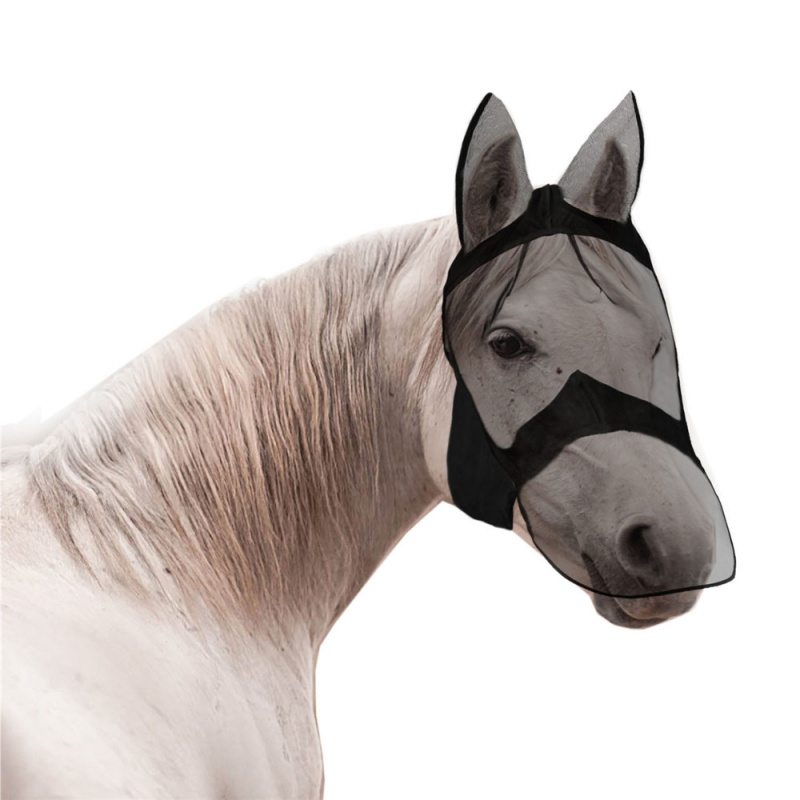 Horse Detachable Mesh Mask With Nasal Cover Horse Fly Mask Horse Full Face Mask Anti-mosquito Nose UV Mosquitoes Sun Protective