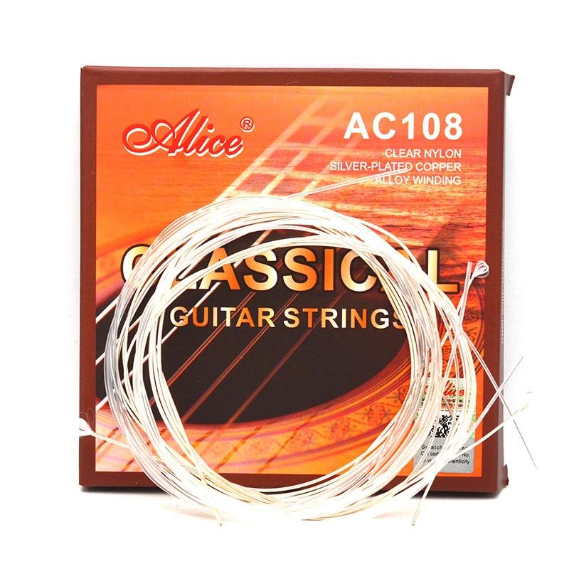 Alice AC108-N cordas de guitarra clássica náilon prata chapeado cobre instrumentos musicais acessórios peças