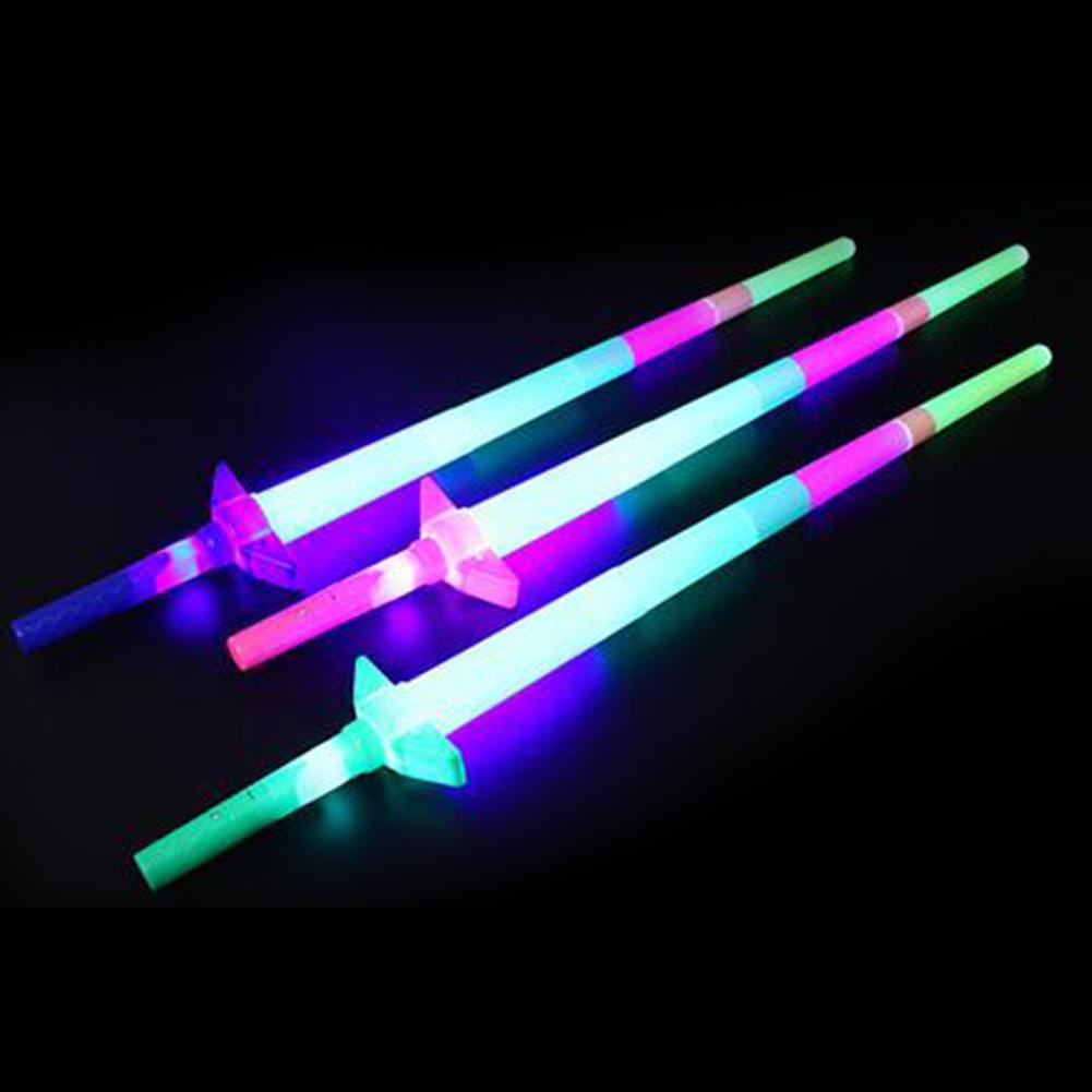4 Section Extendable LED Glow Sword Kids Toy Flashing Stick Concert Party Props Colorful Light Up Glowing Gift For Children New